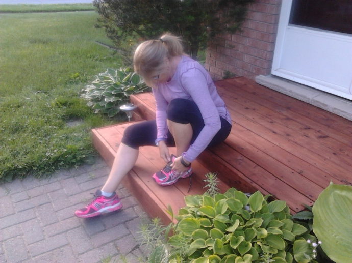 #100happydays Lacing up for our morning run