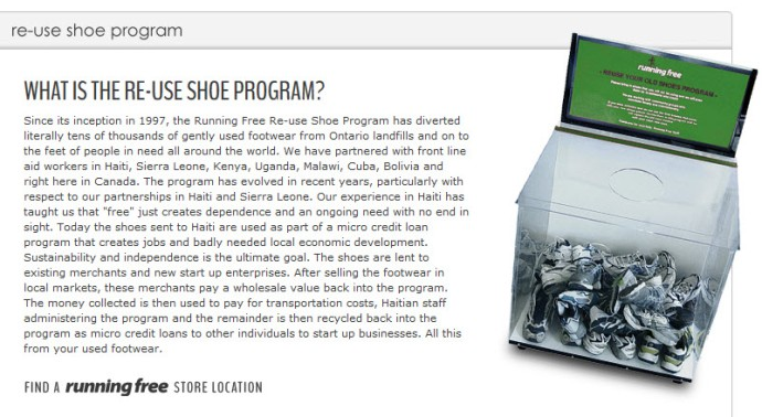 Running Free's shoe collection box