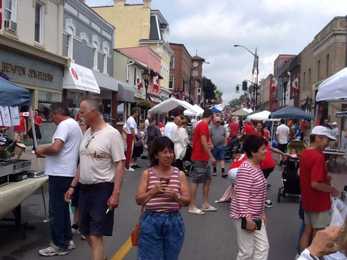 Main Street was all red Nd white for the Canada Day celebration.