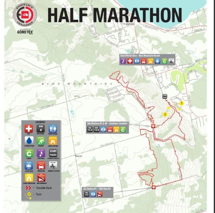 The North Face Endurance Challenge 1/2 Marathon map.