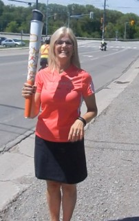 Glenis with the torch, touching history! LOL